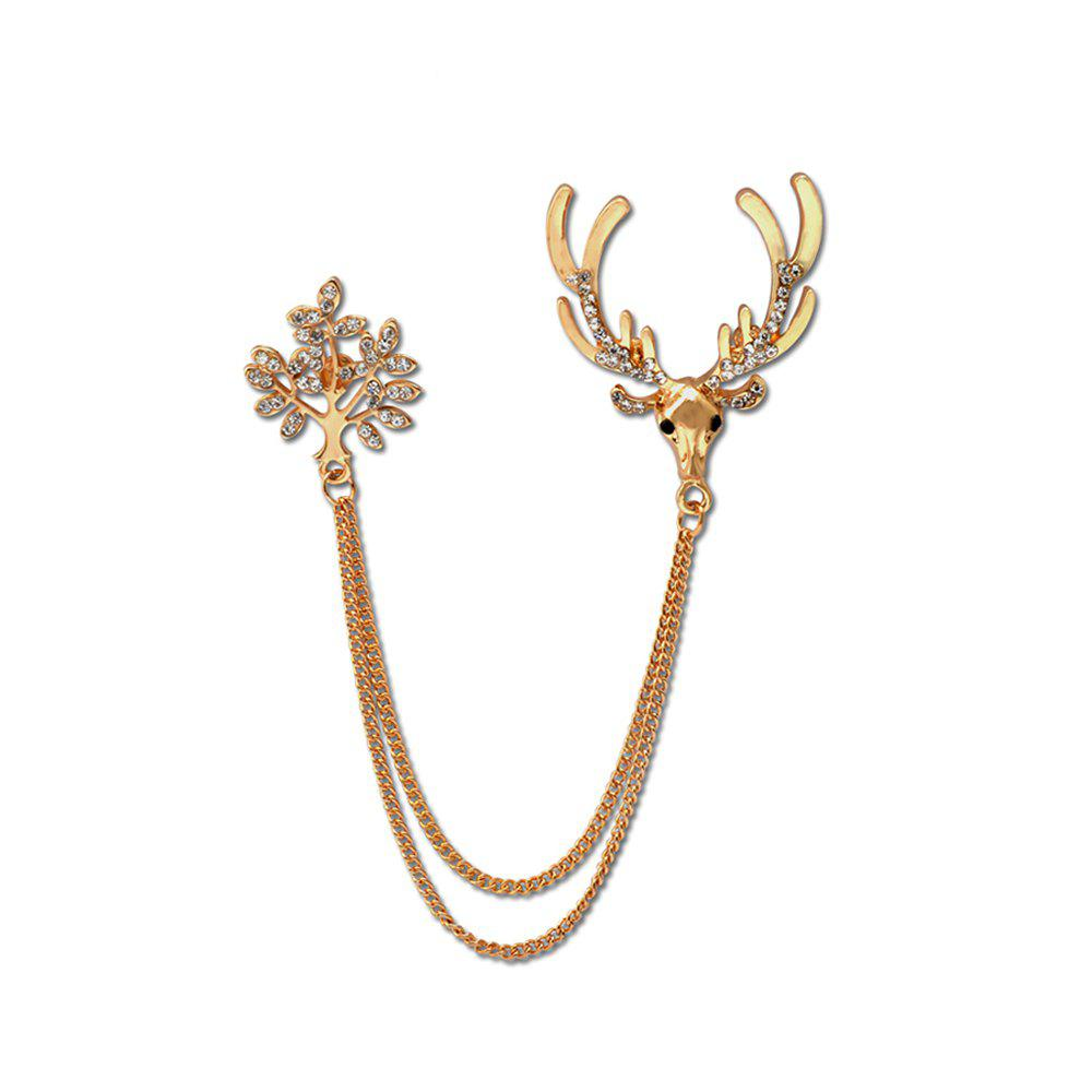 Fashion Trendy Brooches For Pin Hot Shirt Linger Head Male Collar Angle Chain Buckle Personality Deer Brooch - GOLDEN