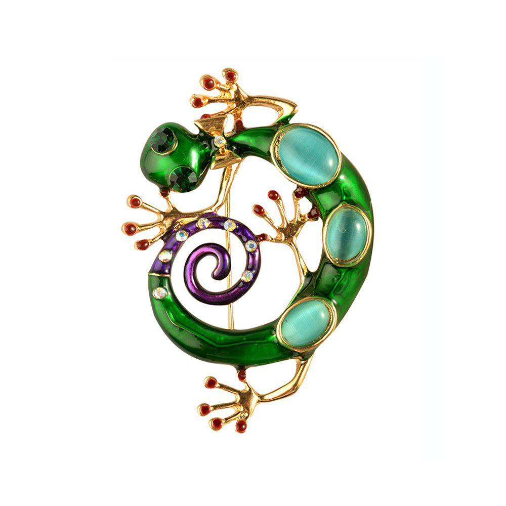 Crystal Enamel Green Gecko Brooches Lizard Brooch Pins Animal Corsage Chameleon Scarf Buckle enamel sector pattern brooches with red tassel