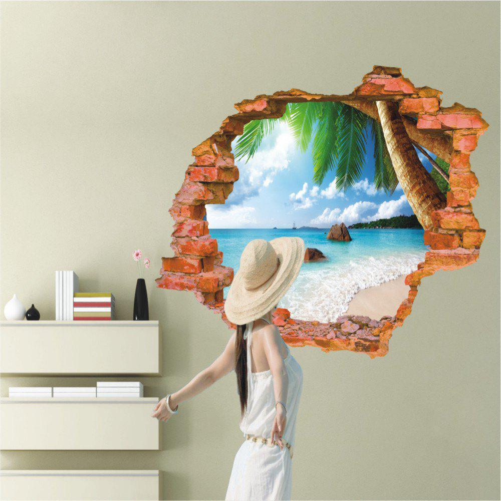 3D Coconut Tree Beach Sunshine PVC Wall Sticker Sea Water Stone Blue Sky Full Color Decals Home Decor
