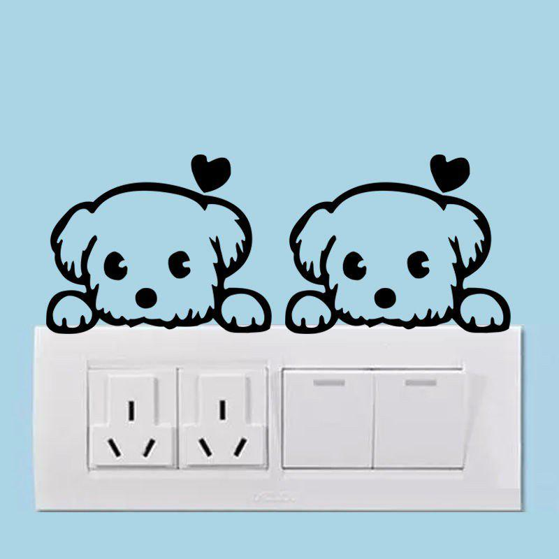 496 Love Heart Dog Switch Stickers For Kids Room Lively Dog Animals Switch Vinyl Sticker heart of a dog