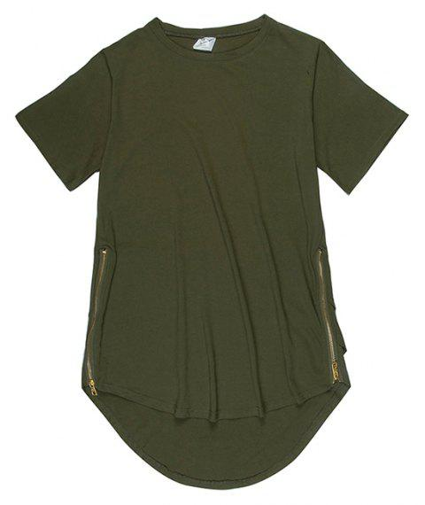 Trend Hip Hop Pure Cotton Round Collar T-Shirt - GREEN M