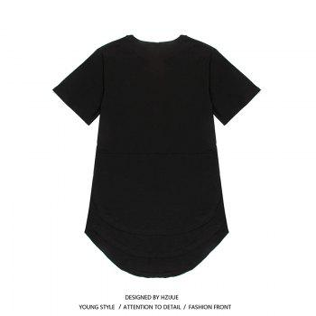 Trend Hip Hop Pure Cotton Round Collar T-Shirt - BLACK BLACK