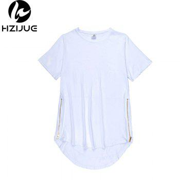 Trend Hip Hop Pure Cotton Round Collar T-Shirt - WHITE M