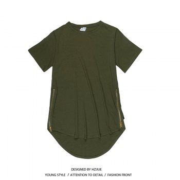Trend Hip Hop Pure Cotton Round Collar T-Shirt - GREEN GREEN