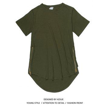 Trend Hip Hop Pure Cotton Round Collar T-Shirt - GREEN XL