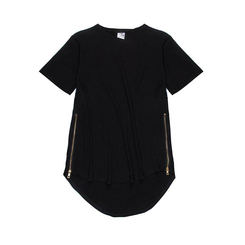 Trend Hip Hop Pure Cotton Round Collar T-Shirt - BLACK S