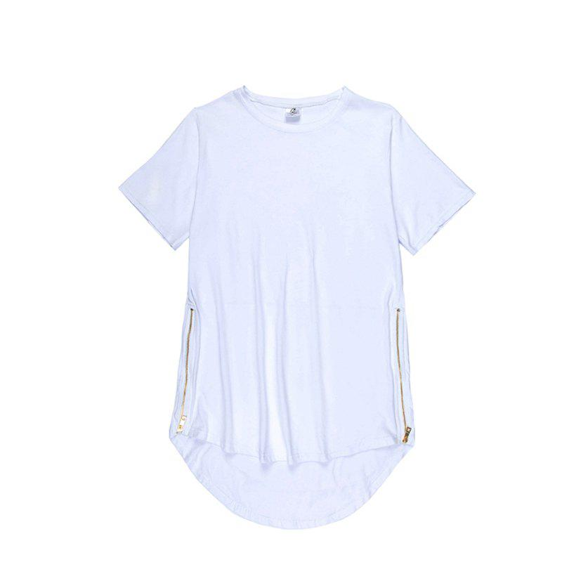 Trend Hip Hop Pure Cotton Round Collar T-Shirt - WHITE L