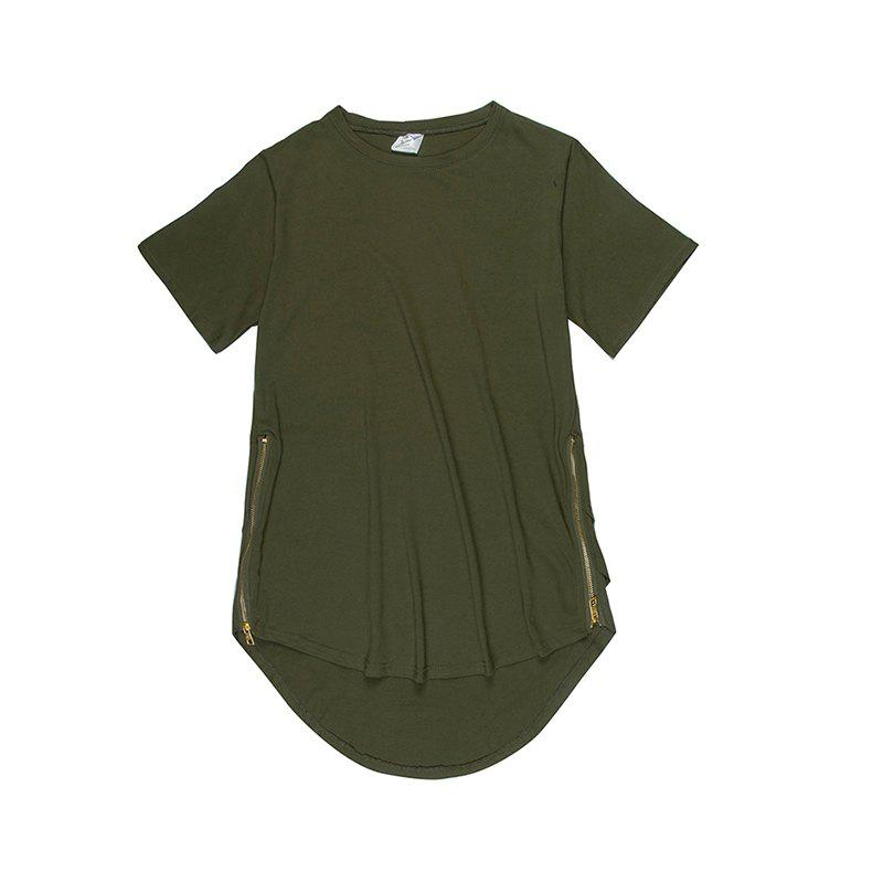 Trend Hip Hop Pure Cotton Round Collar T-Shirt - GREEN 2XL
