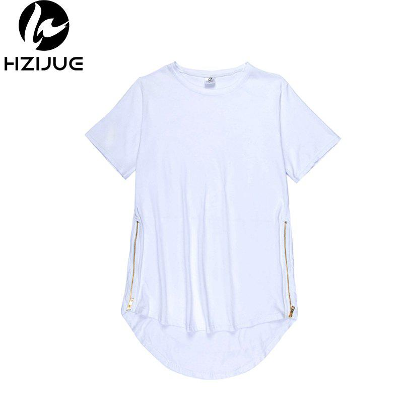 Trend Hip Hop Pure Cotton Round Collar T-Shirt - WHITE S