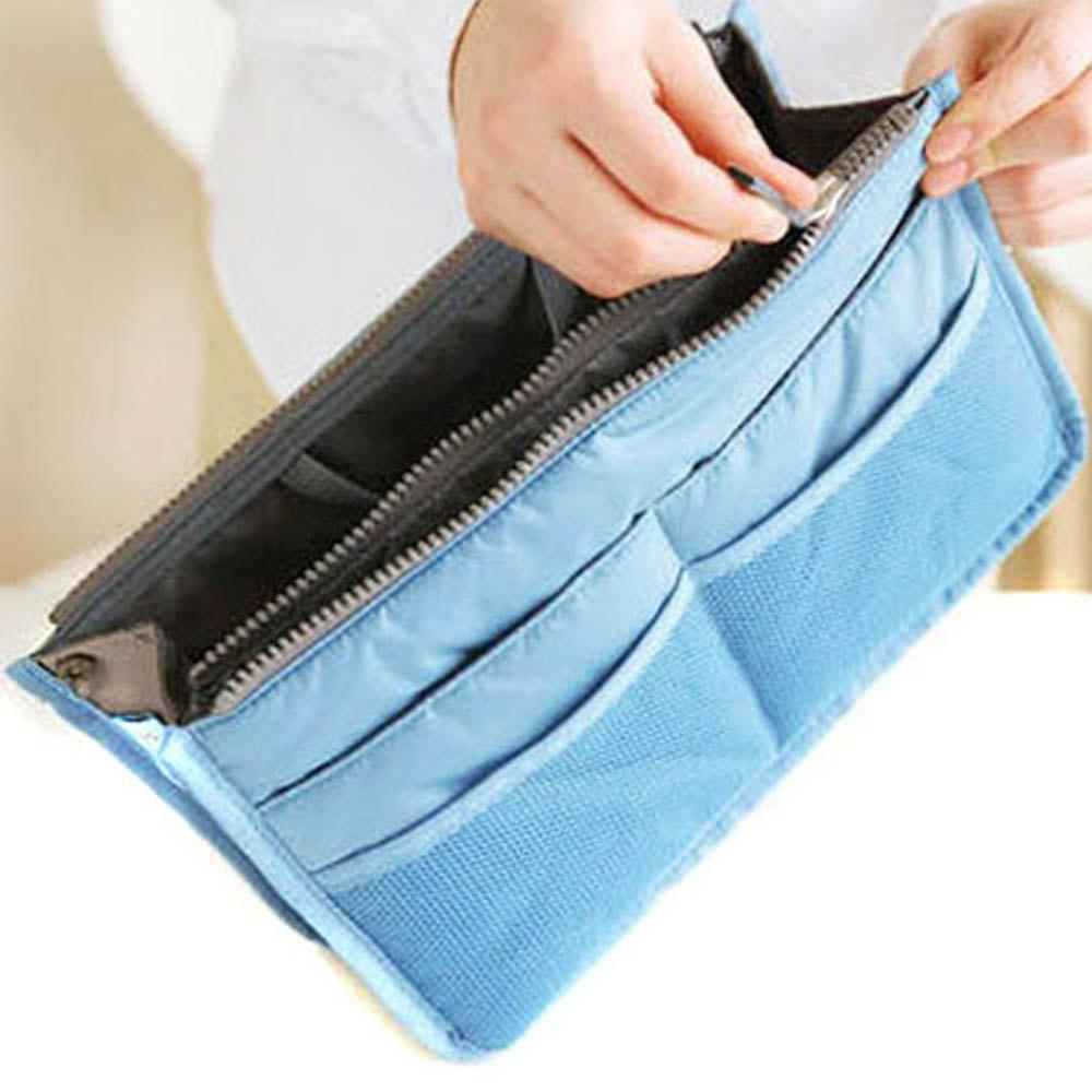 Thickening portable double zipper multifunctional bag storage finishing bag cosmetic bag storage bag cosmetic finishing - RANDOM COLOR
