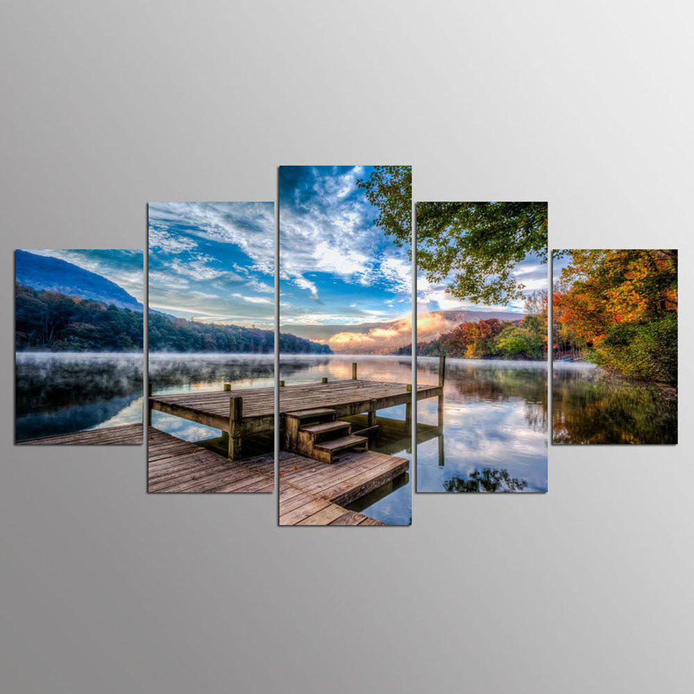 YSDAFEN 5 Piece Lakeside Scenery Canvas Painting Wall Pictures For Living Room - COLORMIX 30X40CMX2+30X60CMX2+30X80CMX1(12X16INCHX2+12X24INC
