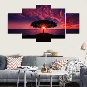 YSDAFEN 5 Pieces Red Sunset By Sea Landscape Posters Wall Art Canvas Picture for Living Room - COLORMIX 30X40CMX2+30X60CMX2+30X80CMX1(12X16INCHX2+12X24INC