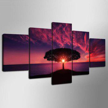 YSDAFEN 5 Pieces Red Sunset By Sea Landscape Posters Wall Art Canvas Picture for Living Room - COLORMIX COLORMIX
