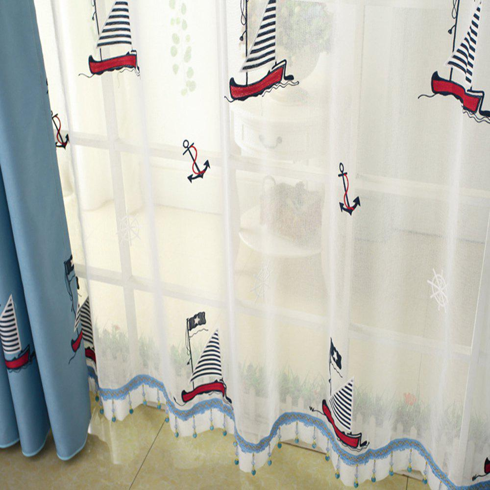 Cartoon embroidered sailing boat curtain/Blue/Children curtain - WHITE 2.5MX2.6M