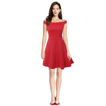 2017 Womens Elegant  Summer Off  Shoulder Solid  Cute Casual Party A- Line Mini Dress - RED RED