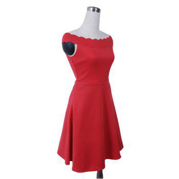 2017 Womens Elegant  Summer Off  Shoulder Solid  Cute Casual Party A- Line Mini Dress - RED M