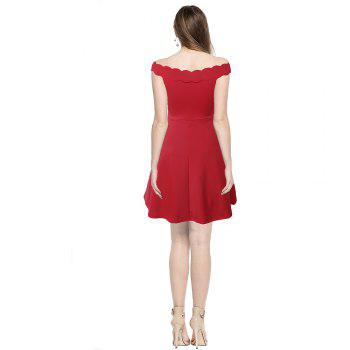 2017 Womens Elegant  Summer Off  Shoulder Solid  Cute Casual Party A- Line Mini Dress - RED L