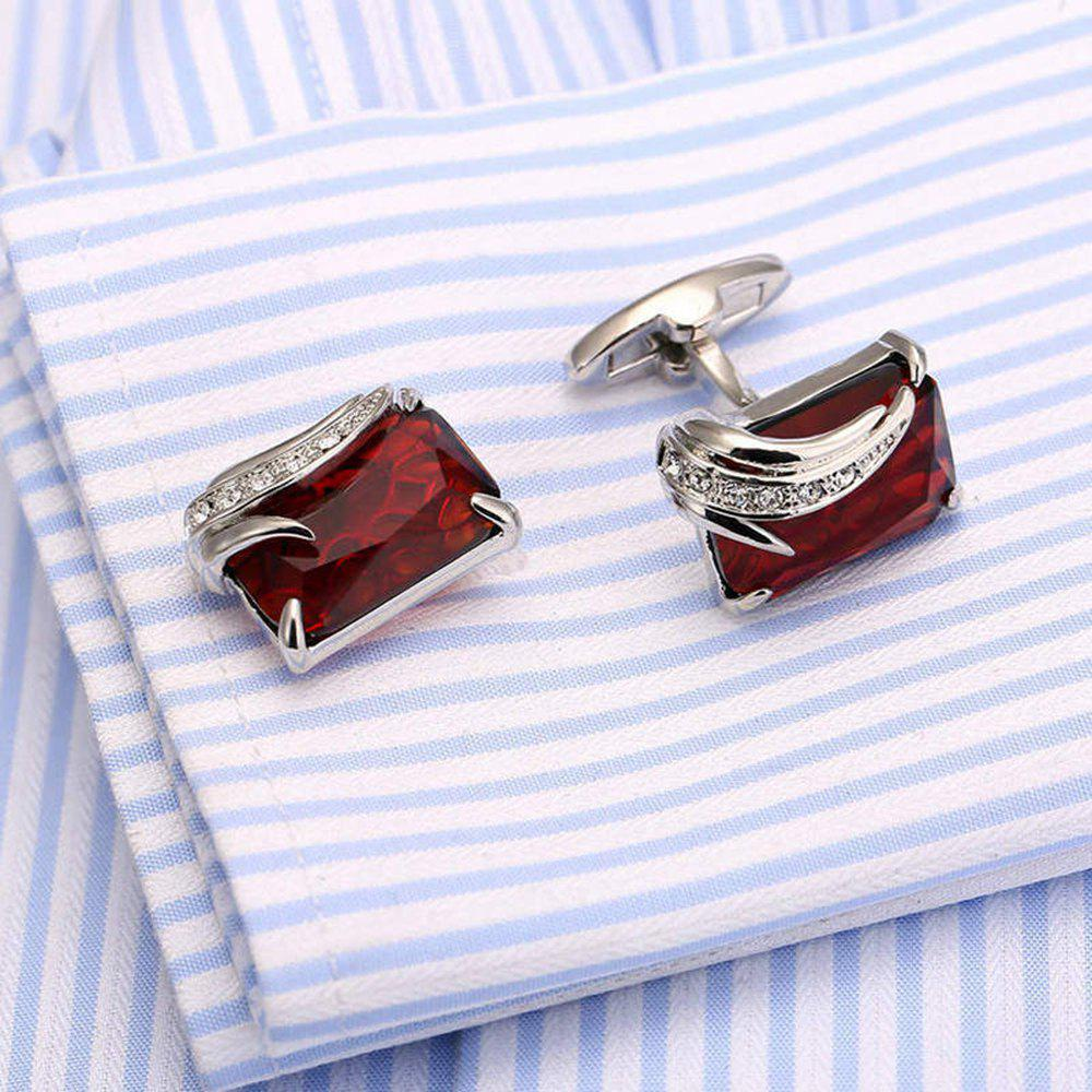 Men's Stylish Casual Durable Fine Cuff Buttons Accessory - RED