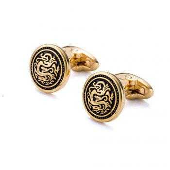 Men's Cufflinks Fashion Personality Business Round Cuff Buttons Accessory - GOLDEN