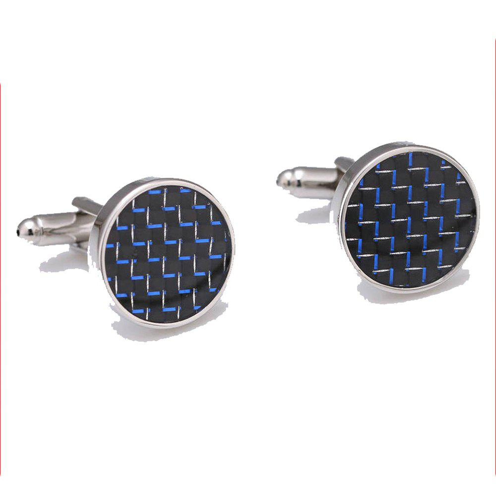 Men's Cufflinks All Match Round Simple Business Cuff Buttons Accessory - BLACK/BLUE