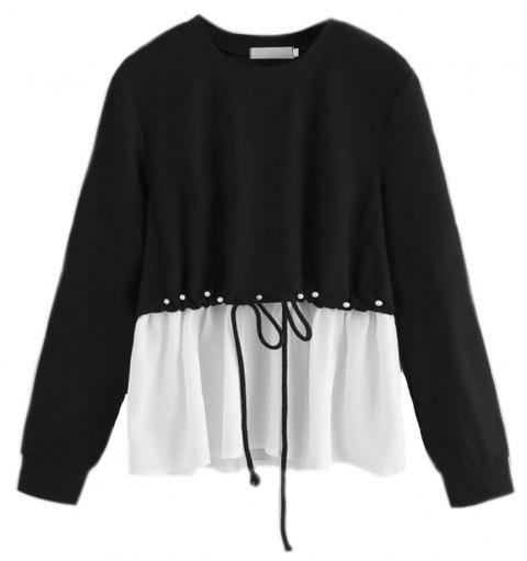 Women's Fashionable Round Neck Spell Color Beads Long Sleeve T-Shirt - BLACK XL