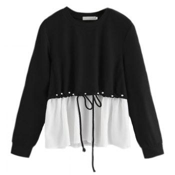 Women's Fashionable Round Neck Spell Color Beads Long Sleeve T-Shirt - BLACK BLACK