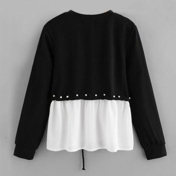 Women's Fashionable Round Neck Spell Color Beads Long Sleeve T-Shirt - BLACK S