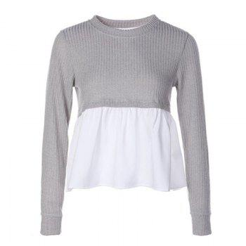 Women's Stylish Round Neck Stitching Pumping Long Sleeve Knit T-Shirt - GRAY GRAY
