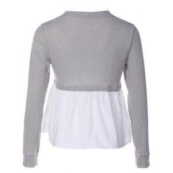 Women's Stylish Round Neck Stitching Pumping Long Sleeve Knit T-Shirt - GRAY S