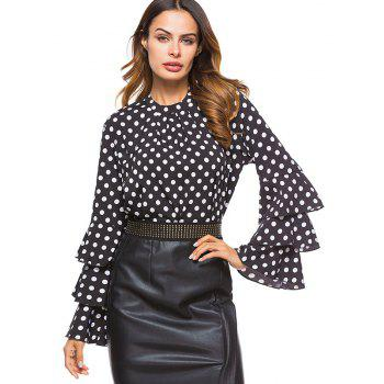 Women's Fashion Stand Collar Wave Point Sleeves Chiffon Shirt - BLACK L