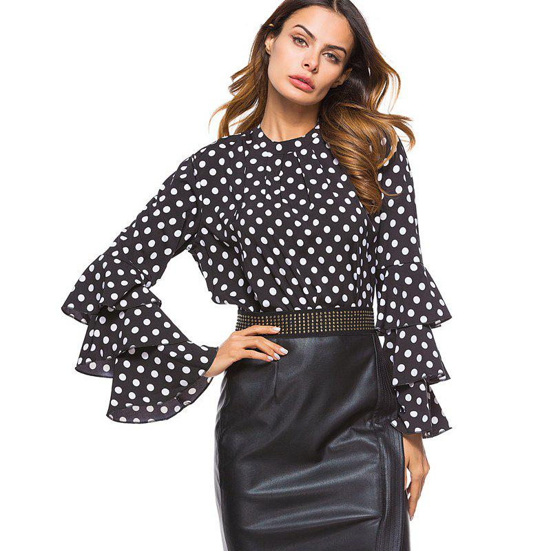 Women's Fashion Stand Collar Wave Point Sleeves Chiffon Shirt - BLACK M