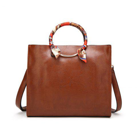Simple All-match Shoulder Messenger Small Korean Retro Metal Ring Handbag - BROWN C STYLE