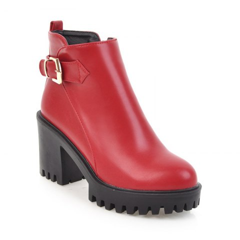 Women Shoes Zip Chunky Heel  Platform Motorcycle Boots - RED 43