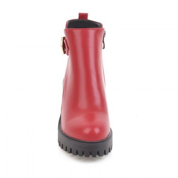Women Shoes Zip Chunky Heel  Platform Motorcycle Boots - RED RED