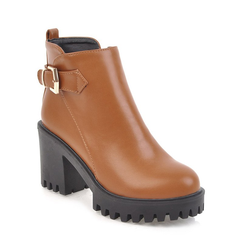 Women Shoes Zip Chunky Heel  Platform Motorcycle Boots - BROWN 34