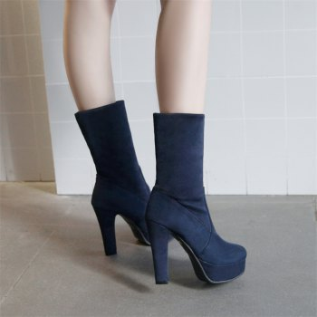 Women Shoes Slip-On Platform Chunky Heel Round Toe Mid-Calf Boots - BLUE BLUE