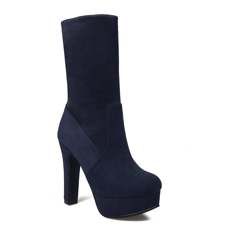 Women Shoes Slip-On Platform Chunky Heel Round Toe Mid-Calf Boots - BLUE 34