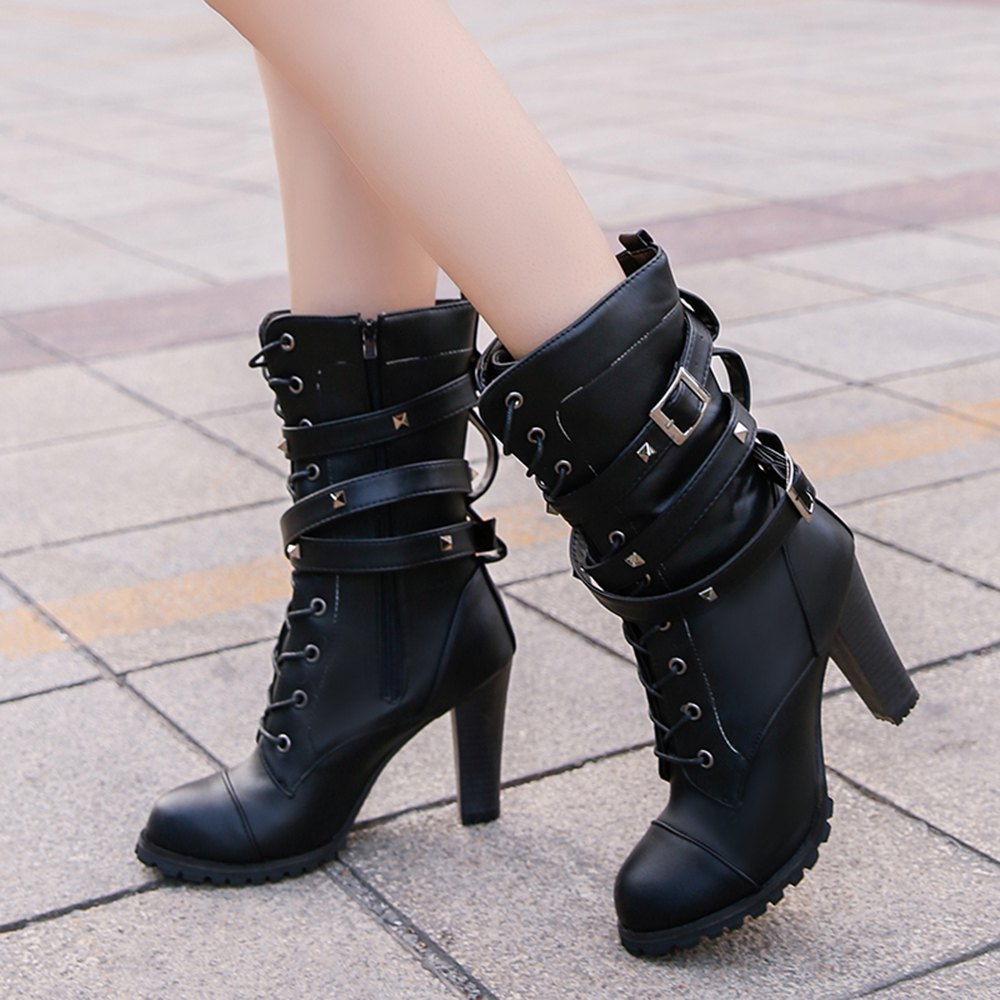 Women Autumn Winter Fashion PU Leather Martin Buckle Boots Waterproof Block Thick Middle High Heel Lace Shoes - BLACK 38
