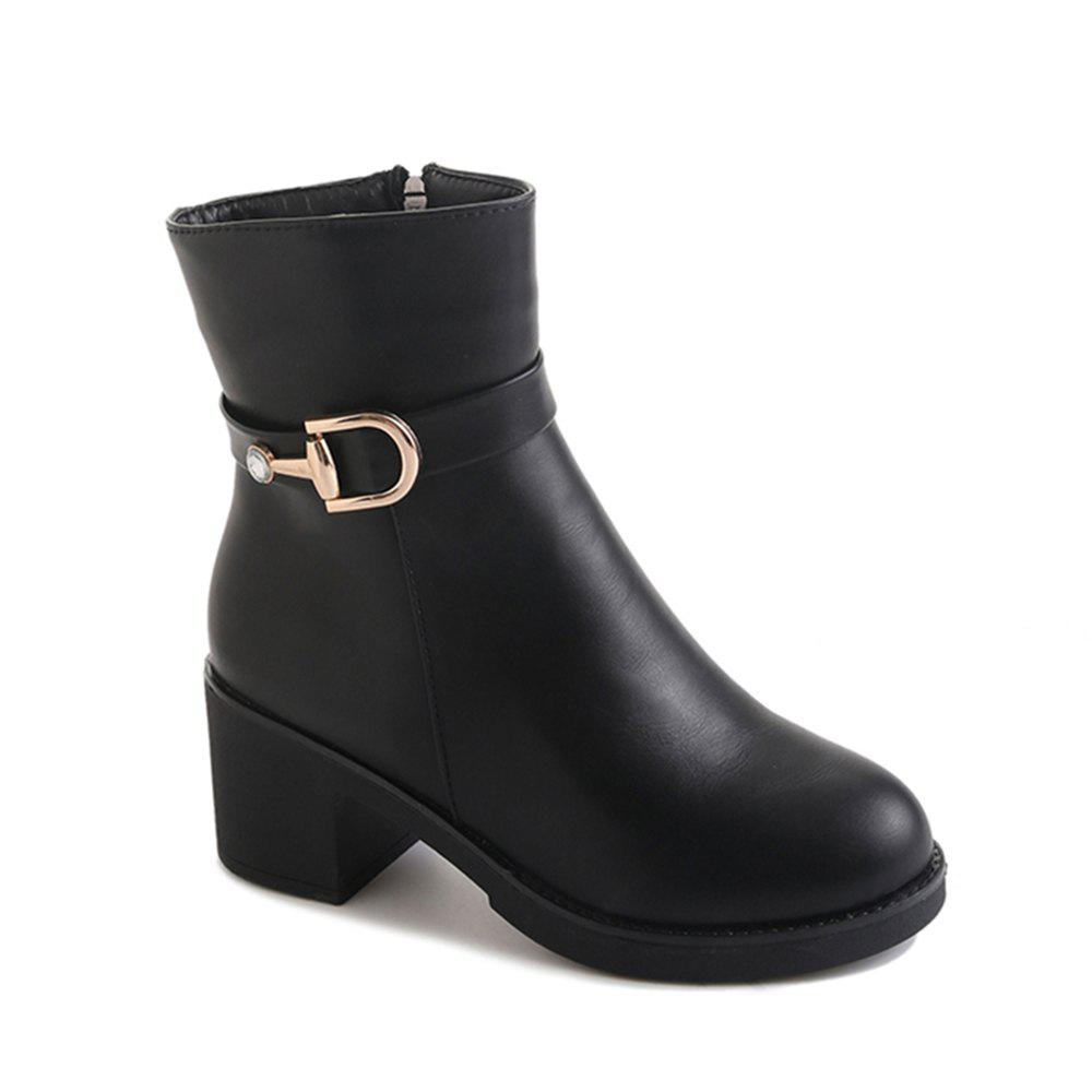 Women Autumn Winter Fashion PU Leather Ankle Martin Zipper Buckle Boots Waterproof Block Thick Middle High Heel Shoes юбка lost ink plus lost ink plus lo035ewyte19