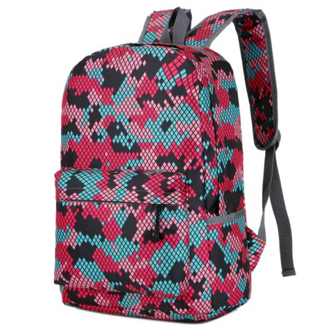 Fashion Hongjing assortis couleur décontracté Sporting Backpack - Rouge