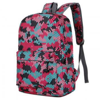 Fashion Hongjing Matching Color Casual Sporting Backpack - RED RED
