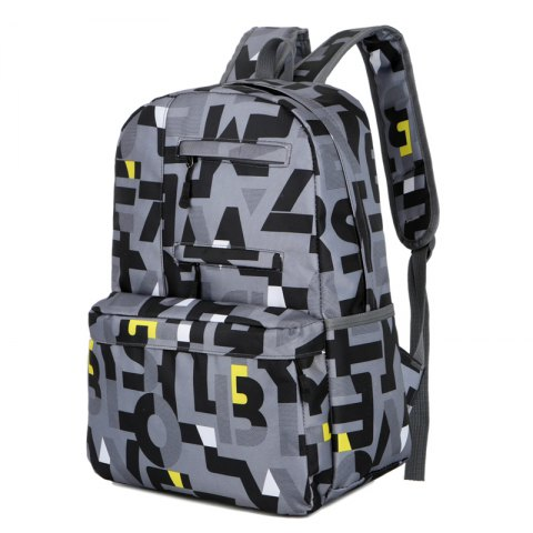 HongJing Fashion Matching Color Large Space Backpack - BLACK