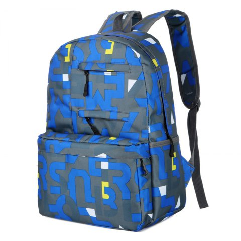 HongJing Fashion Matching Color Large Space Backpack - LIGHT BLUE