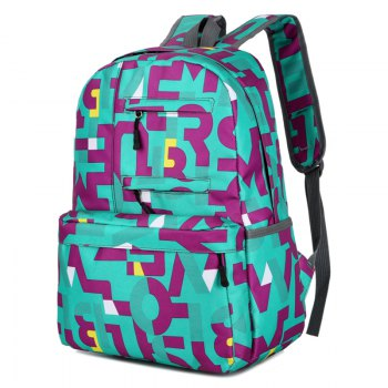 HongJing Fashion Matching Color Large Space Backpack - GREEN GREEN