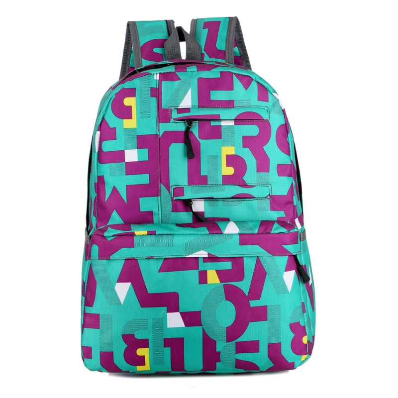 HongJing Fashion Matching Color Large Space Backpack - GREEN