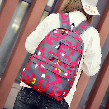 HongJing Fashion Matching Color Large Space Backpack - RED