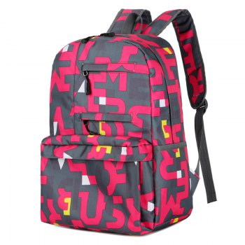 HongJing Fashion Matching Color Large Space Backpack - RED RED