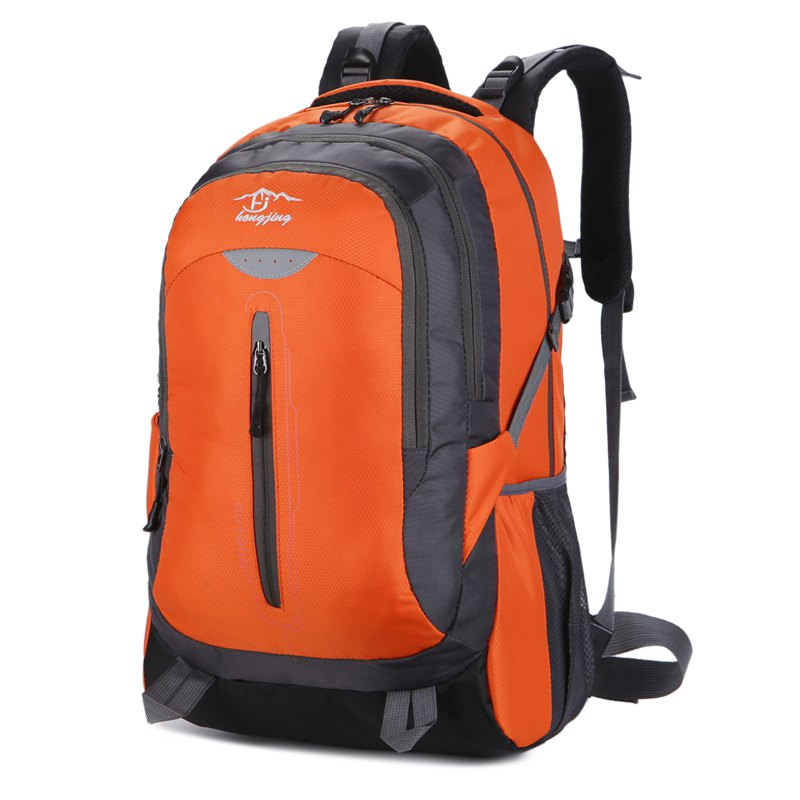Hongjing New Stylish Multiple Zipper Casual Sporting Backpack - ORANGE