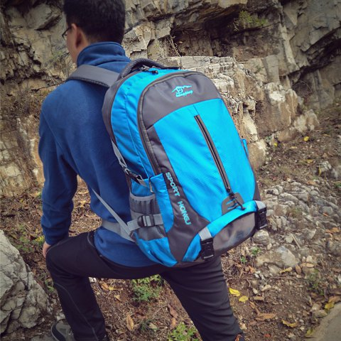 Hongjing 45L Outdoor Casual Sporting Hiking Camping Climbing Backpack - SKYBLUE