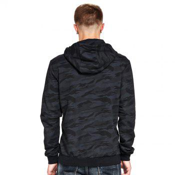 Men's Hoodie Casual Fashion Camouflage All Match Long Sleeve Hoodie - BLACK XL